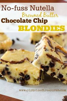 These Nutella blondies are a super-quick sweet fix! Rich with browned butter, it only takes five minutes to whip up and 20 minutes to bake. A one bowl recipe! #Nutella #easydesserts #blondies