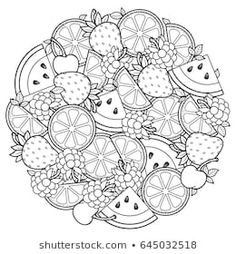 Vector coloring book for adult, for meditation and relax. Round shape of watermelon, strawberries, citrus, cherries and strawberries. Black and white image on a white background of isolated elements - buy this vector on Shutterstock & find other images. Fruit Coloring Pages, Mandala Coloring Pages, Coloring Book Pages, Printable Coloring Pages, Coloring Sheets, Free Adult Coloring, Coloring Pages For Adults, Doodle Coloring, Colorful Drawings