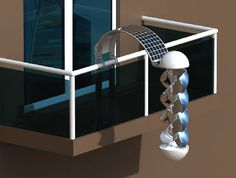 The Greenerator is a compact solar and wind energy collector that can be installed right on an apartment balcony.