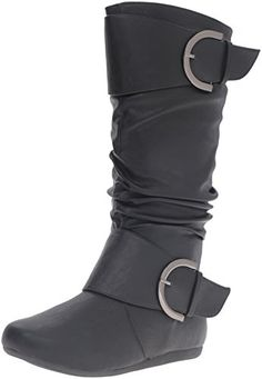 Bank 85 Womens Buckle Slouch Boots TAN >>> For more information, visit image link.