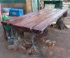 In this video I make a rustic a log furniture table for a camping site. I use my chainsaw and rip the logs without using a chainsaw mill. I just