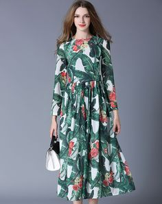 #VIPme Green Floral Print Crewneck Swing Midi Dress ❤ Get more outfit ideas and style inspiration from fashion designers at VIPme.com.