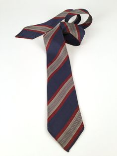 Vintage 30s Tie Men's Necktie Blue Burgundy Grey by idcmasculine