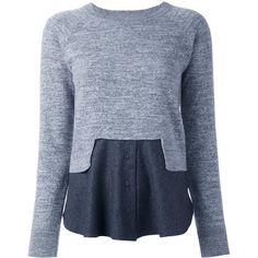 Carven colour block knitted top ($294) ❤ liked on Polyvore featuring tops, grey, grey top, color block tops, block top, gray top and carven top