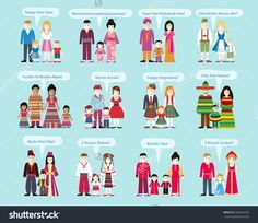 Different nationalities Happy New Year. Family man and woman with child, Russian and Ukrainians, Americans and Africans, Chinese and Mexicans, Scots and Germans, French and Indians illustration