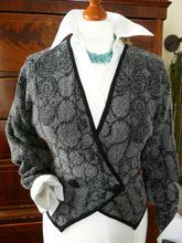 80s Doublebreasted Cardigan, Great Style, Grey/Black, Sz. S/M