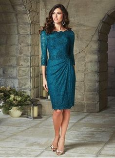 Sheath/Column V-neck Scoop Neck Knee-Length Satin Lace Evening Dress With Ruffle Beading