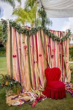 Ribbon back drop for a photo booth.