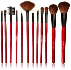 12 pc Natural Goat and Badger Cosmetic Makeup Brush Set Red Pouch Contour - The Accessory Nook - 2