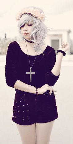 Black Swan: Floral headgear, black choker, black velvet ballerina top and Studded velvet shorts