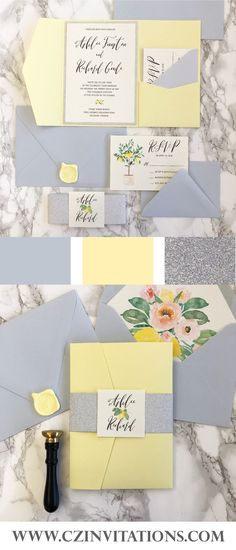 Light Yellow and Light blue are the perfect pair for weddings! This lemon floral design is fun and painted by hand for a personal and unique touch to your wedding invitations. #weddinginvitations #wedding #invitations   Yellow invitations, lemon invitations, lemon yellow wedding, light blue and yellow wedding, silver glitter and yellow, pocket invitation, spring wedding, light yellow invites