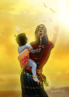 Mother Yashoda with Little Krsna.