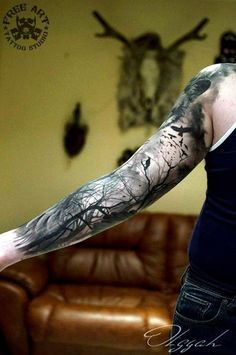 40 Deep And Super Cool Forest Tattoo Ideas – Bored Art Tiefe und super coole Wald Tattoo Ideen Forest Tattoo Sleeve, Forest Forearm Tattoo, Nature Tattoo Sleeve, Wolf Tattoo Sleeve, Forest Tattoos, Tattoo Forearm, Tattoo Nature, Inner Bicep Tattoo, Space Tattoo Sleeve