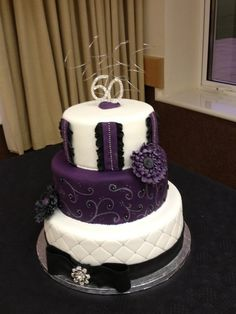 I was asked by a friend to make her mum a birthday cake for her birthday. The theme was purple, black and silver, with a bit of bling. I just hope that her mum likes it. 60th Birthday Cake For Mom, Adult Birthday Cakes, Fabulous Birthday, 60th Birthday Party, Special Birthday, Cupcakes, Cupcake Cakes, Gorgeous Cakes, Amazing Cakes