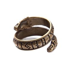Bronze ring with Dragon and Elder Futhark rune. Ring is adjustable to make sure comfort fit. Ring fits on finger with circumferences from 3 to 16 size. Material: Bronze, Sterling Silver Sterling Silver ring with Dragon and Elder Futhark rune here - Pagan Jewelry, Viking Jewelry, Tribal Jewelry, Runic Alphabet, Elder Futhark Runes, Viking Life, Viking Runes, Bronze Ring, Antique Rings