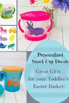 Studio personalised gifts http24studiossindexjsp great gift for your toddlers easter basket personalized decal sticker for baby and toddler snack cup personalized image and name cut out of the middle of negle Gallery