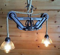 industrial pendant light fixtures | Light Ceiling Rustic Industrial Pendant Fixture Hay Trolley Pulley