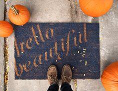 DIY 'Hello Beautiful' Doormat by Lidy for Design*Sponge. We do love a good DIY type project!
