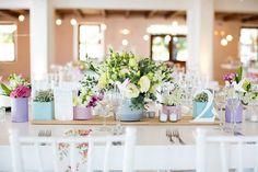 Flowers on tables Pretty in Pastels - Kleinevalleij {Real Wedding} Outdoor Wedding Reception, Indoor Wedding, Our Wedding, Wedding Venues, Wedding Blog, Wedding Stuff, Wedding Ideas, Wedding Table Decorations, Wedding Centerpieces