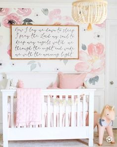 Baby Emma's Nursery Reveal Our beautiful floral nursery that is bright and airy with pops of pink! Baby Emma is here so I'm excited to finally share her nursery reveal! Dressing Room Design, Floral Nursery, Nursery Neutral, Stylish Bedroom, Nursery Room, Nursery Ideas, Nursery Inspiration, Light Pink Nursery Walls, Girl Nursery Decor