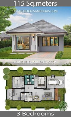 115 Sqm 3 Bedrooms Home design idea - Home Ideassearch Modern House Floor Plans, Modern Bungalow House, Simple House Plans, My House Plans, Simple House Design, Bungalow House Plans, Family House Plans, Minimalist House Design, Modern House Design