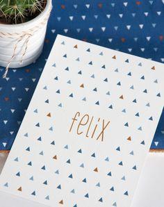 Geboortekaart grafisch ontwerp voor een jongen in blauwtinten met koper (c)Alsjeblief.be