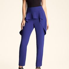 Bebe Flowy Peplum Blue Pants This bebe pant is very kardashian! Only worn once, in great condition. High waisted so cute to pair with a crop top. bebe Pants
