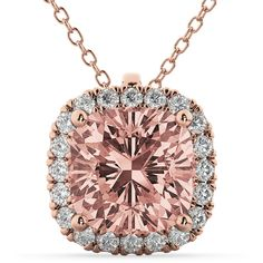 Allurez Halo Morganite Cushion Cut Pendant Necklace 14k Rose Gold... ($2,420) ❤ liked on Polyvore featuring jewelry, necklaces, 14 karat gold necklace, red gold necklace, pink gold necklace, 14 karat necklace and rose gold jewellery