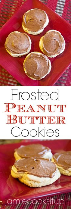 Cutler's Frosted Peanut Butter Cookies. A soft, chewy cookie loaded with peanut butter chips and frosted with creamy peanut butter frosting and chocolate buttercream. Heavenly bliss!