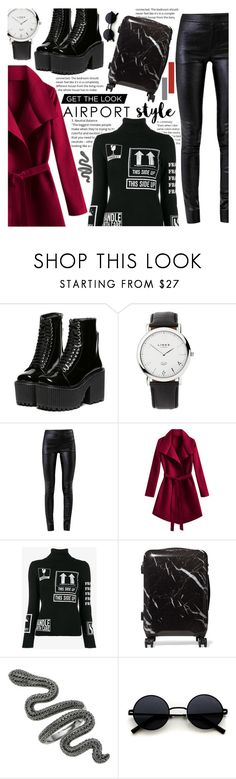 """Wanderlust Wonderful: Airport Style"" by isabeldizova ❤ liked on Polyvore featuring Links of London, Helmut Lang, Moschino and CalPak"