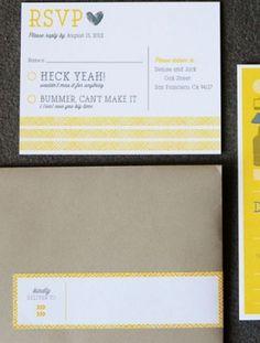 Oh So Beautiful Paper: Denise + Jack's Modern Yellow Wedding Invitations