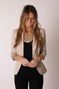 beige blazer and all black