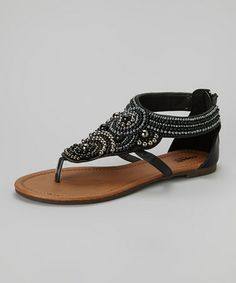Capelli New York Black Beaded Hooded Thong Sandal 4af0b61eed0e