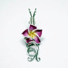 Made to Order - Design 02 - Aromatherapy Wire Wrapped Polymer Clay Tropical Flower Bead PERFUME Pendant $20.00