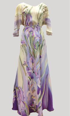Шелковые платья батик : Платье Лель сиреневые ирисы