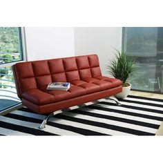 Orren Ellis Romans Euro Lounger Convertible Sofa Color Red