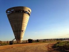 The unusual water tower near Grand Central Airport.
