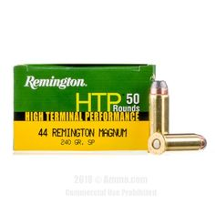 Remington 44 Magnum Ammo - 50 Rounds of 240 Grain SP Ammunition #44Magnum #44MagAmmo #Remington #RemingtonAmmo #Remington44Mag #SP #HighTerminalPerformance #HTP