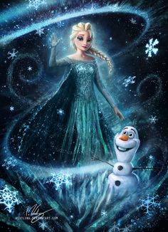 By Westling: Queen Elsa in all her Frozen Glory, shown here with snow-pal Olaf Images Disney, Art Disney, Disney Kunst, Disney Pictures, Disney Magic, Disney Movies, Frozen Disney, Frozen Art, Elsa Frozen