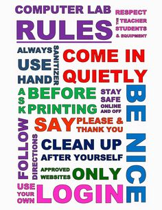 Teach the Bits and Bytes – Subway Art Computer Lab Rules – PDF included - Top-Trends Computer Lab Posters, Computer Lab Rules, Computer Lab Decor, Computer Lab Classroom, Computer Teacher, Computer Lessons, Computer Basics, Classroom Rules, Computer Science