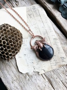 Blue Goldstone & Bumble Bee Electroformed Copper Pendant Necklace