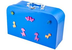 Blue suitcase with animal decoration from Lumela afrika - perfect for preschoolers or fashionistas - 9429 African Crafts, African Art, Animal Decor, Suitcase, Arts And Crafts, Decoration, Blue, Accessories, Dekoration