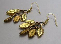 Leaf Earrings Gold Leaf Earrings Falling by VintagePlusCrafts, $10.00