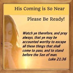 """Luke 21:36  """"Watch ye therefore, and pray always, that ye may be accounted worthy to escape all these things that shall come to pass, and to stand before the Son of man."""" KJV"""