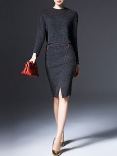 Магазин платья Миди - серый вязаный длинный рукав два PieceTwo кусок MIDI платье онлайн. Откройте для себя уникальные модные дизайнеры в StyleWe.com.