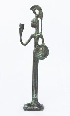 Bronze Athena with shield holding cup table sculpture with patina finish
