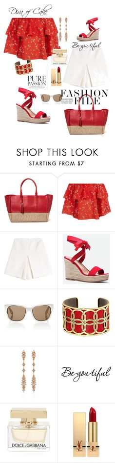 """""""Summer outfit White and Red"""" by kercey ❤ liked on Polyvore featuring Alice + Olivia, Carven, JustFab, Givenchy, Brighton, Fernando Jorge, Schone, Dolce&Gabbana and Yves Saint Laurent"""