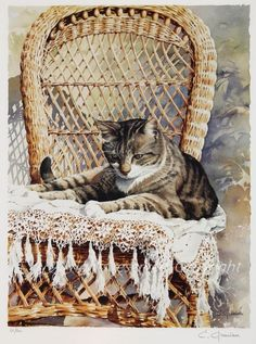 Le Chat (The Cat) by Christian Graniou   French Watercolorist