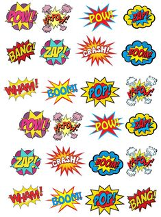 24 Stand Up Premium Edible Wafer Paper Superhero Retro Pow Zap Comic Book Style Cake Toppers Decorations Mais Batman Party, Superhero Birthday Party, Superhero Party Decorations, Paper Cake, Wafer Paper, Art Pop, Comic Book Style, Comic Books, Zap Comics