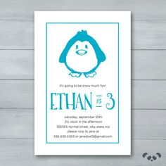Penguin Birthday Party Invitation    Penguin by PandafunkCreations